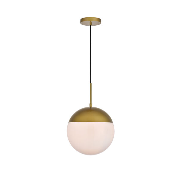 Eclipse Brass and Frosted White 12-Inch One-Light Pendant, image 1