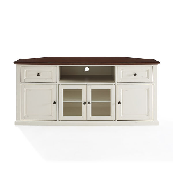 Shelby White Fiber Board and Birch Veneer TV Stand, image 1