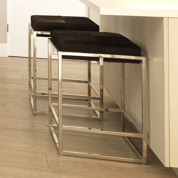 Shelby Espresso Hide and Nickel Metal Counter Stool, image 3