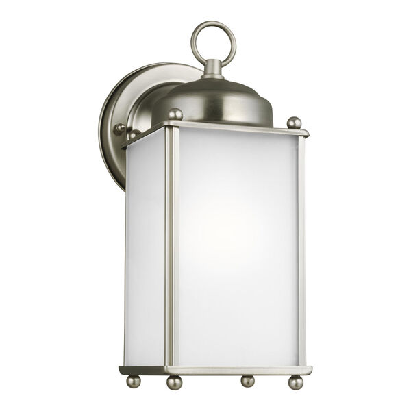 New Castle Antique Brushed Nickel One-Light Outdoor Wall Sconce with Satin Etched Shade, image 2