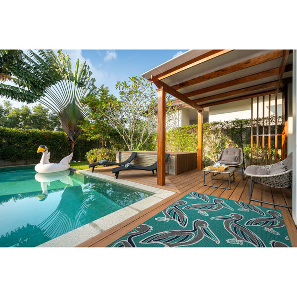 Puerto White and Blue Pattern Indoor/Outdoor Rug, image 2