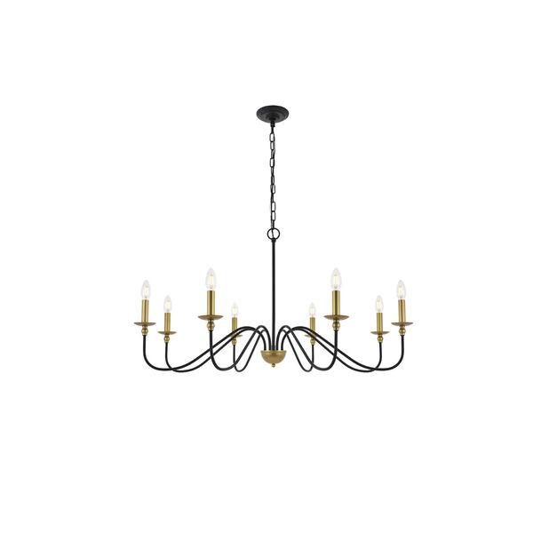 Rohan Matte Black and Brass Eight-Light Chandelier, image 1