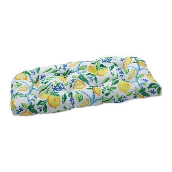 Lemon Yellow Blue Green Loveseat Cushion, image 1