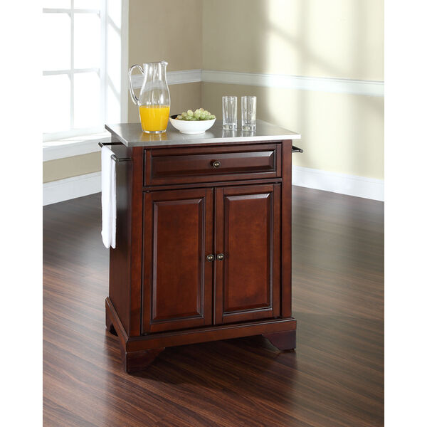 LaFayette Stainless Steel Top Portable Kitchen Island in Vintage Mahogany Finish, image 3