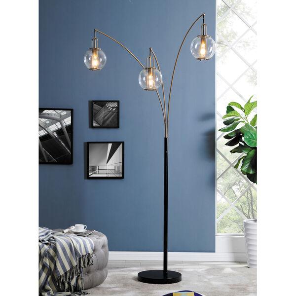 Kaira Black Three-Light Arc Floor Lamp, image 3