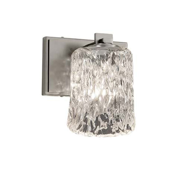 Veneto Luce - Era Brushed Nickel One-Light Wall Sconce with Cylinder Rippled Rim Clear Textured Shade, image 1