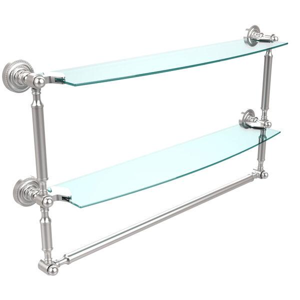 Satin Chrome Double Shelf with Towel Bar, image 1