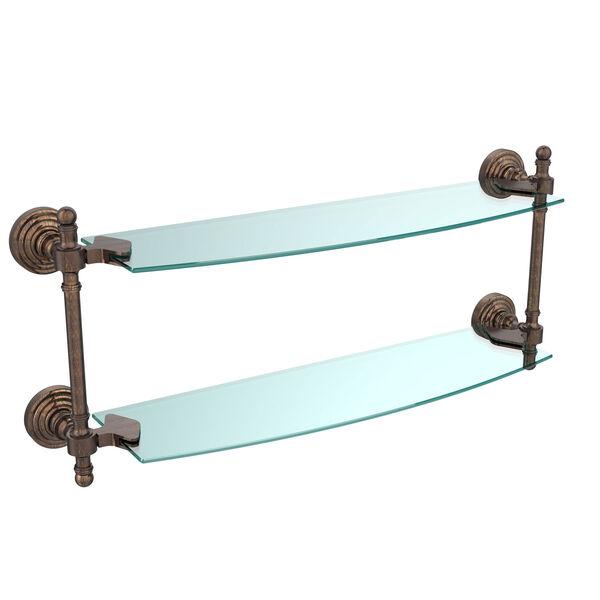 Retro Wave Venetian Bronze 18 Inch Double Glass Shelf, image 1