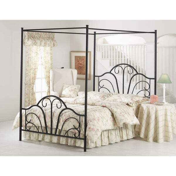Dover Textured Black Full Canopy Bed, image 1