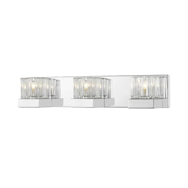 Fallon Chrome Three-Light Vanity With Transparent Ribbed + Frosted Crystal, image 1