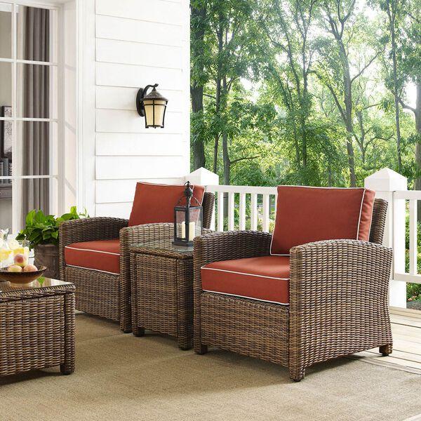Bradenton Sangria 3-Piece Outdoor Wicker Conversation Set with Cushions, image 3