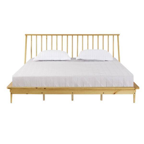 Light Oak Solid Wood Spindle Platform King Bed, image 2