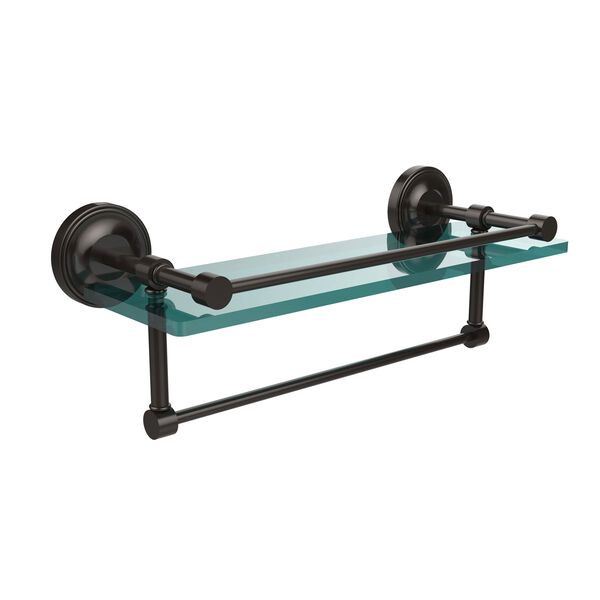 16 Inch Gallery Glass Shelf with Towel Bar, Oil Rubbed Bronze, image 1