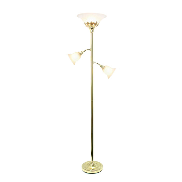 Quince Gold White Shade Three-Light Floor Lamp, image 2