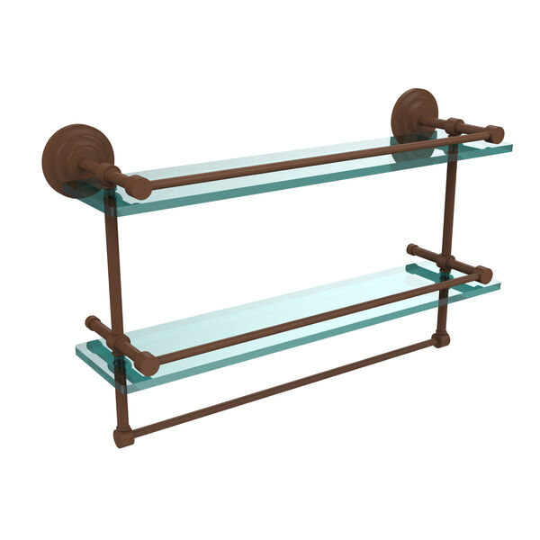 22-Inch Gallery Double Glass Shelf with Towel Bar, image 1