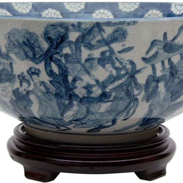 14 Inch Ladies Blue and White Porcelain Bowl, Width - 14 Inches, image 3
