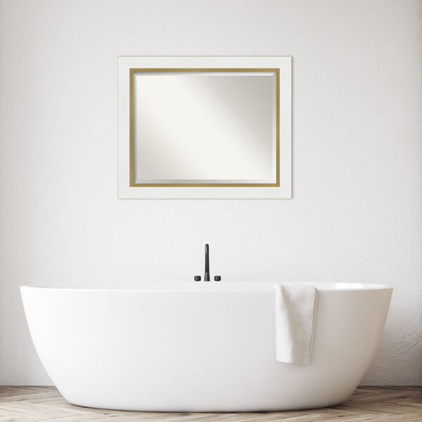 Eva White and Gold 33W X 27H-Inch Bathroom Vanity Wall Mirror, image 3