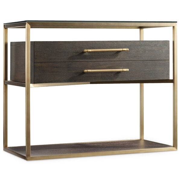 Curata Dark Wood and Gold One-Drawer Nightstand, image 1