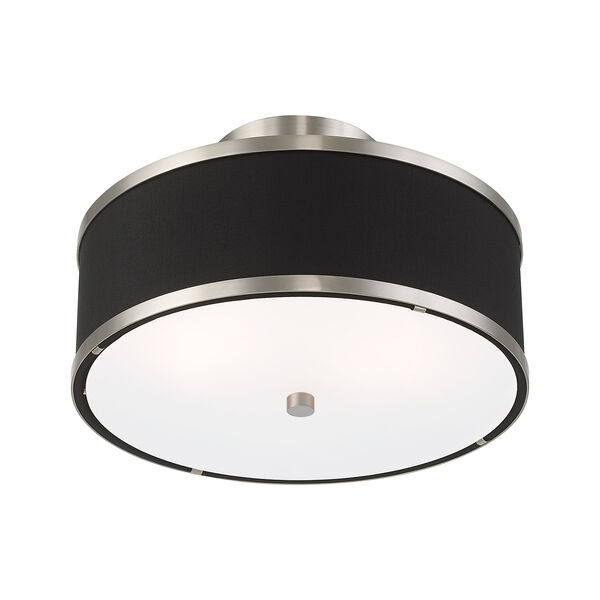 Park Ridge Brushed Nickel 13-Inch Two-Light Ceiling Mount with Hand Crafted Black Hardback Shade, image 4