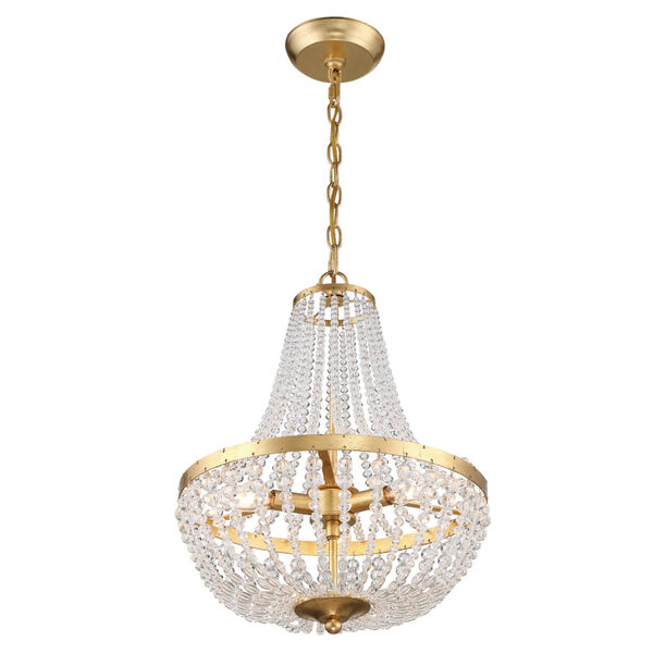 Rylee Antique Gold Three-Light Chandelier Convertible to Semi-Flush Mount, image 4