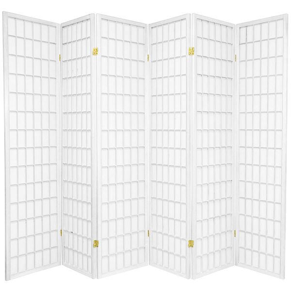 6-Foot Tall Window Pane Shoji Screen - White - 6 Panels, image 1