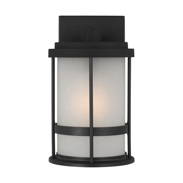 Wilburn Black Six-Inch One-Light Outdoor Wall Sconce with Satin Etched Shade, image 1
