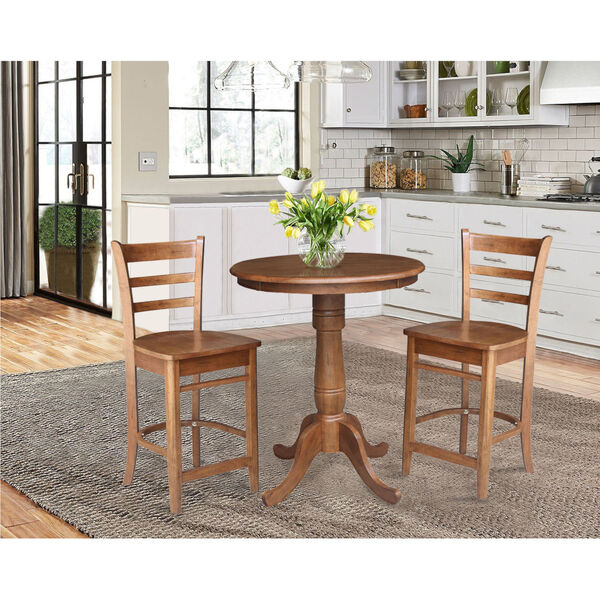 Emily Distressed Oak 30-Inch Round Top Pedestal Table with Two Counter Height Stool, Set of Three, image 1