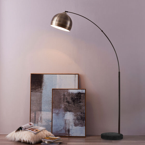 Arquer Antique Brass and White Marble Arc Floor Lamp, image 4