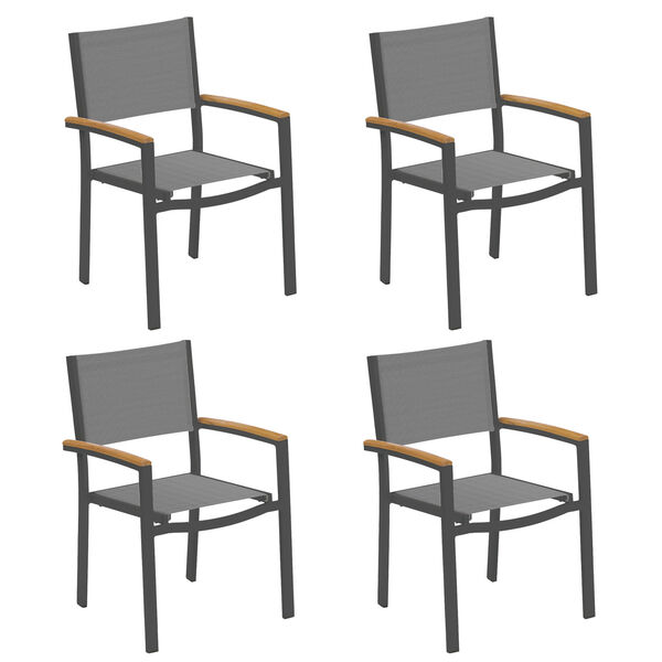 Travira Titanium Sling Natural Tekwood Armcaps and Carbon Powder Coated Aluminum Frame Armchair , Set of Four, image 1