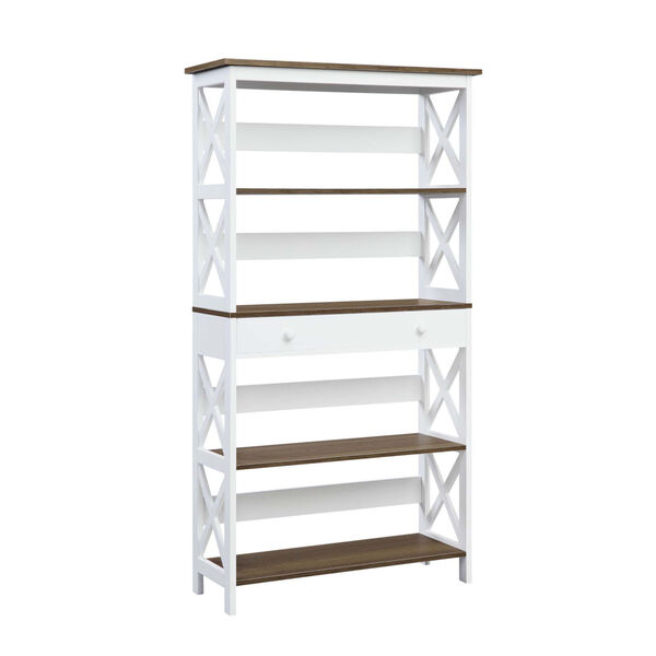 Oxford Driftwood White Five-Tier Bookcase with Drawer, image 1