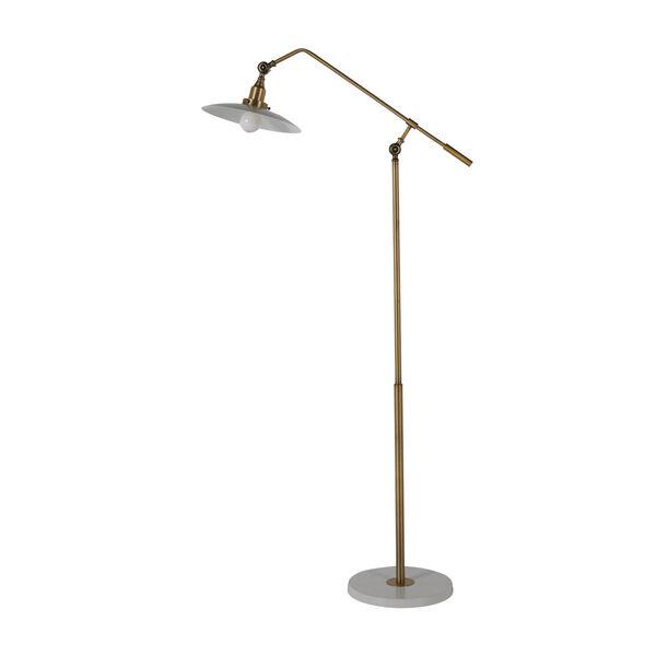 Raphael Matte Brass and Matte White Floor Lamp, image 3
