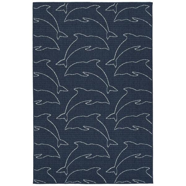 Dark Navy Dolphin Indoor/Outdoor Rug, image 1