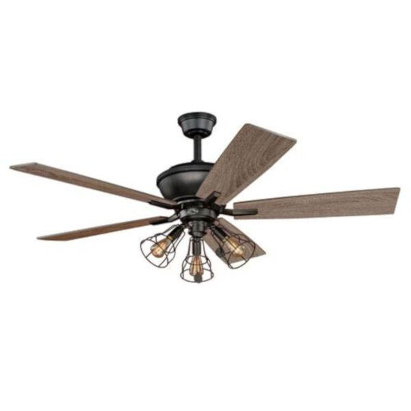 Knox Bronze 52-Inch Three-Light Ceiling Fan, image 1