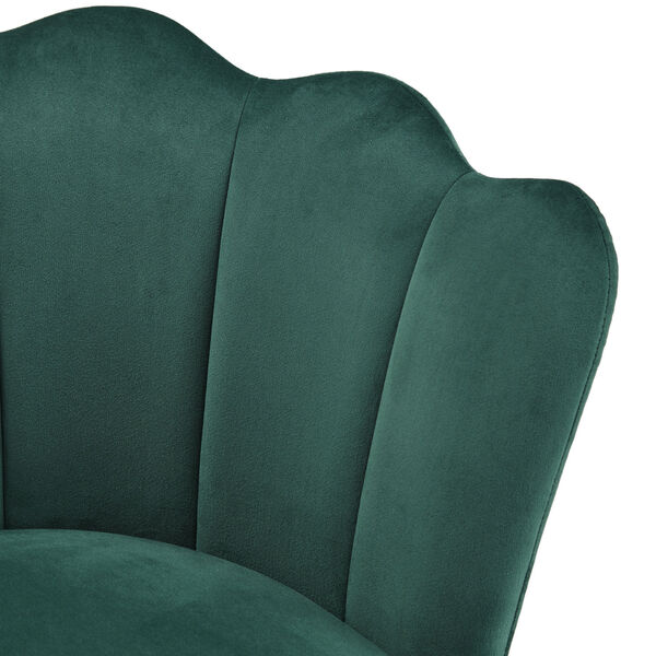 Stella Green Velvet Seashell Armless Chair with Black and Gold Leg, image 5
