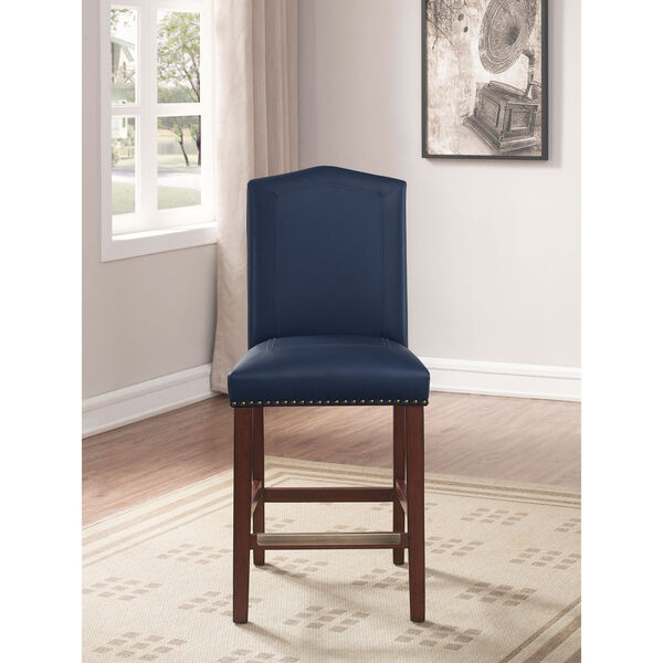 Carteret Navy Faux Leather Counter Stool, image 2
