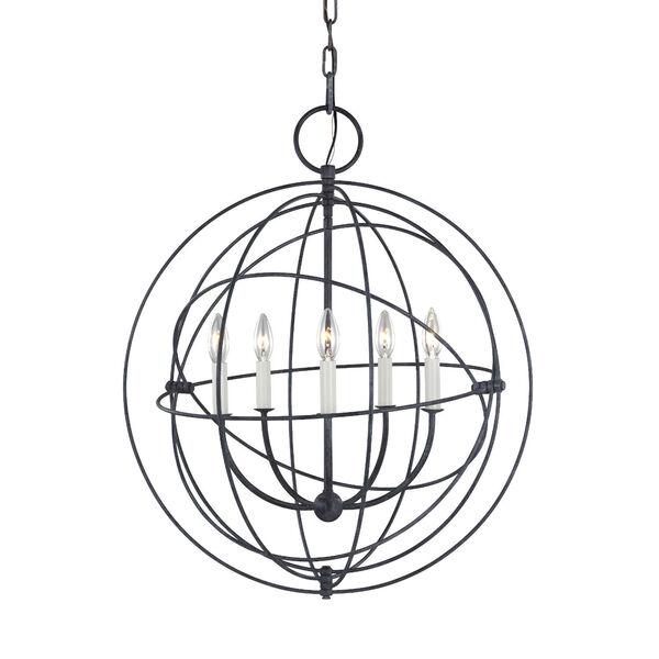 Bayberry Weathered Galvanized Five-Light Pendant, image 3