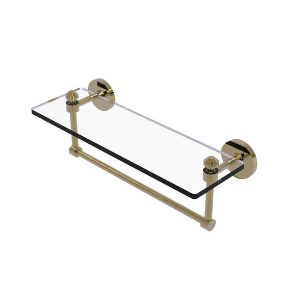 Southbeach Unlacquered Brass 16-Inch Glass Vanity Shelf with Integrated Towel Bar, image 1