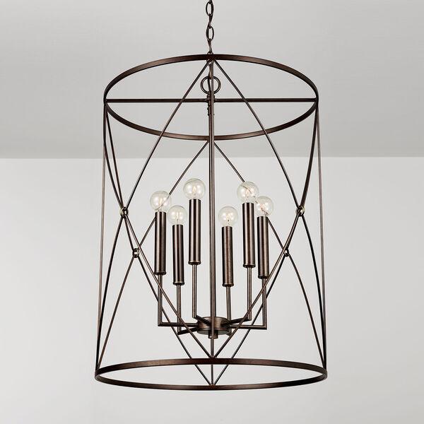 Adrian Buffed Bronze Six-Light Foyer Pendant, image 3