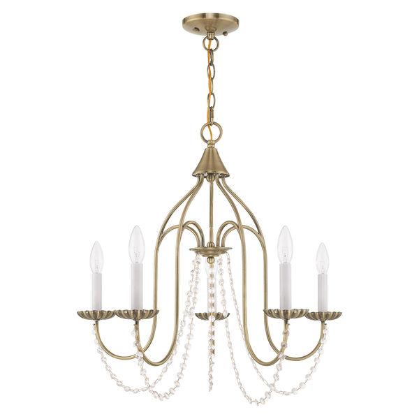 Alessia Antique Brass 24-Inch Five-Light Chandelier, image 2