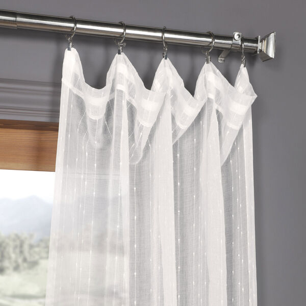 White Striped Faux Linen Sheer 108 x 50 In. Curtain Single Panel, image 2