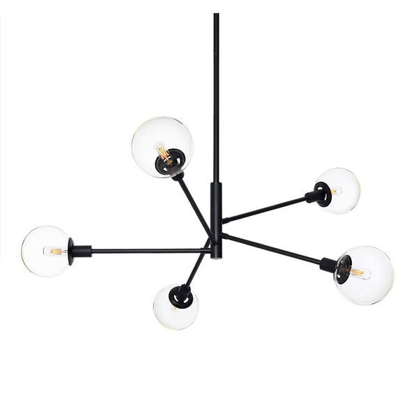 Orb Five-Light - Satin Black with Clear Glass - Pendant, image 1