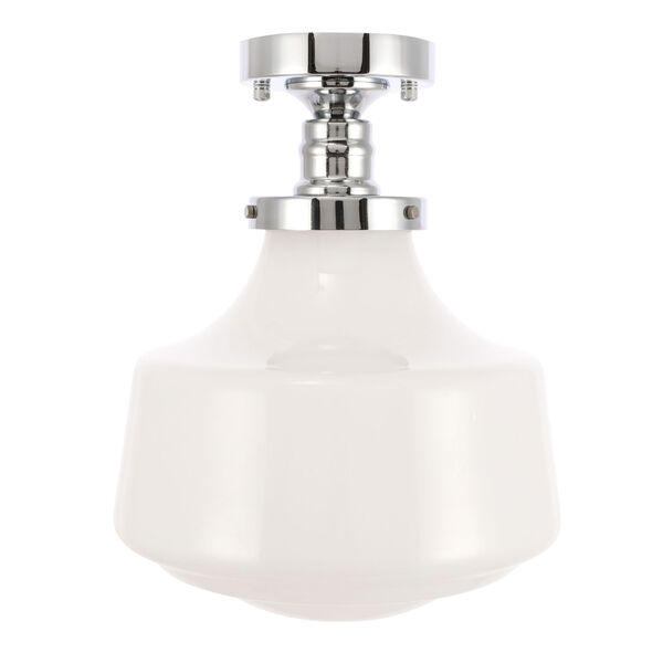 Lyle Chrome 11-Inch One-Light Flush Mount with Frosted White Glass, image 3