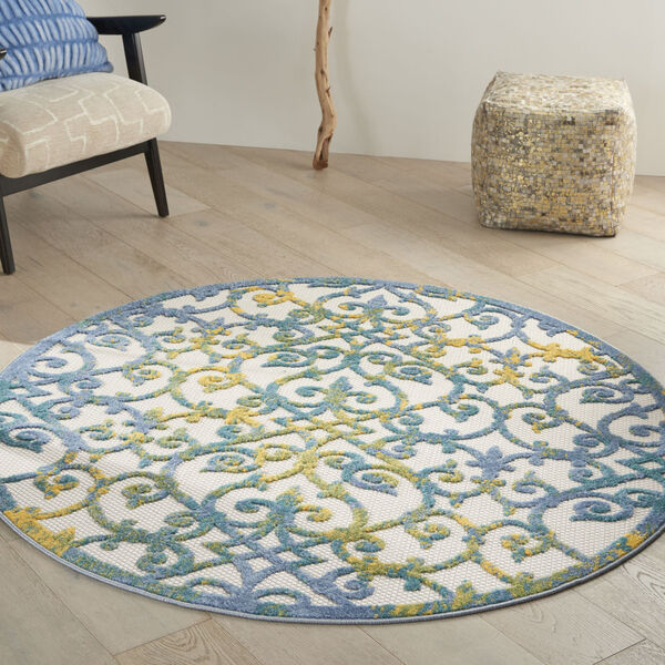 Aloha Ivory and Blue 5 Ft. 3 In. x 5 Ft. 3 In. Round Indoor/Outdoor Area Rug, image 1