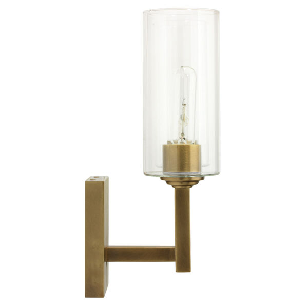 Linear Antique Brass and Clear Glass Two-Light Wall Sconce, image 3