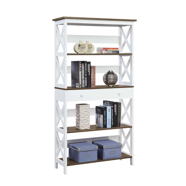 Oxford Driftwood White Five-Tier Bookcase with Drawer, image 3