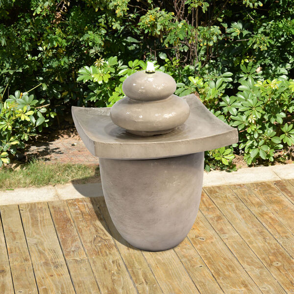 Light Grey Outdoor Zen Stones Two - Tier Fountain with LED Light, image 3