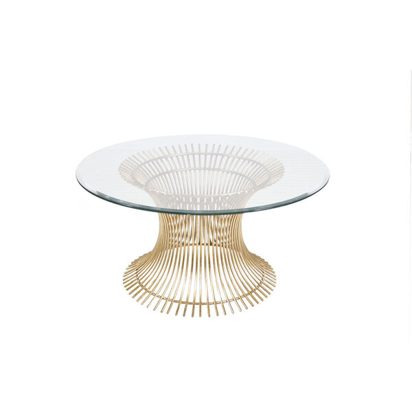 Gold Leaf 36-Inch Coffee Table Base with Beveled Glass, image 1