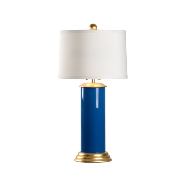 Savannah Blue, Gold and White Two-Light Table Lamp, image 1