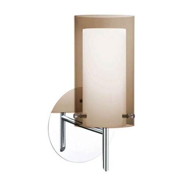 Pahu 4 Chrome One-Light LED Bath Sconce with Transparent Smoke Glass, image 1