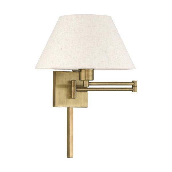 Swing Arm Wall Lamps Antique Brass 13-Inch One-Light Swing Arm Wall Lamp with Hand Crafted Oatmeal Hardback Shade, image 2